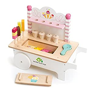 15 Pc Ice Cream Cart - Includes Ice Cream Cones, Popsicles, Scooper and Cart - Made with Premium Materials and Craftsmanship - Encourage Role Play and Develops Social Skills - For Children 3+
