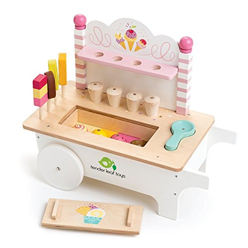 (15 Pc Ice Cream Cart - Includes Ice Cream Cones, Popsicles, Scooper and Cart - Made with Premium Materials and Craftsmanship - Encourage Role Play and Develops Social Skills - For Children 3+)