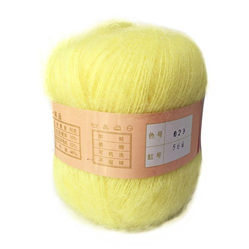 Celine lin One Skein Soft&Warm Angola Mohair Cashmere Wool Knitting Yarn 50g,Light - Yellow Mohair