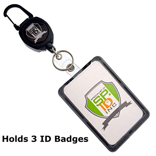 Super Heavy Duty Sidekick Retractable Badge and Key Reel - Carabiner Clip - with THREE Card ID Badge Holder by Specialist ()
