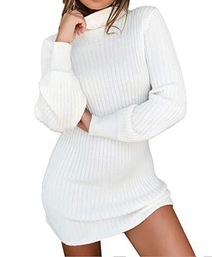 Vestito Alto Abito Tops Tubino Vestiti Fox ulein Bianca Autunno Mini Sottile Maglieria Lungo Sweater Maglione Manica Collo Fr da a Lunga Moda Pullover Donna Casual Felpe Partito Inverno nSYq71xf