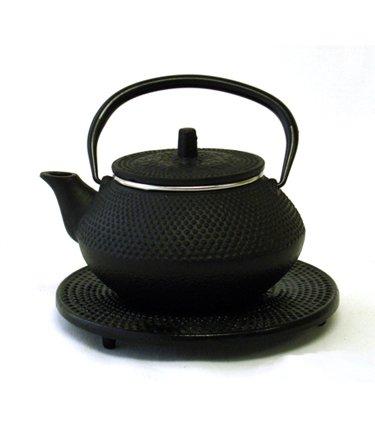 Black Cast Iron Teapot With Trivet By Moda - 35 oz tmc