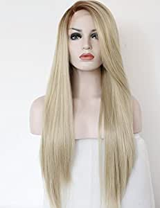 K'ryssma Fashion Ombre Blonde Glueless Lace Front Wigs 2 Tone Color Light Brown Roots #12 Side Part Long Natural Straight Heat Resistant Synthetic Hair Replacement Wig For Women Half Hand Tied