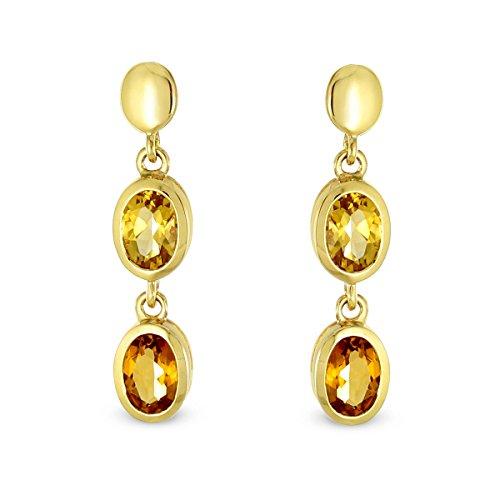Tousmesbijoux Boucles d'oreilles pendantes citrines en Or 750/00