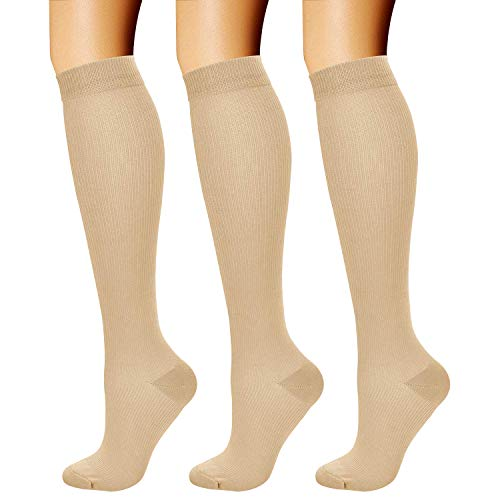 CHARMKING Compression Socks (3 Pairs) 15-20 mmHg is Best Athletic & Medical for Men & Women, Running, Flight, Travel, Nurses, Edema - Boost Performance, Blood Circulation & Recovery (S/M, Nude)