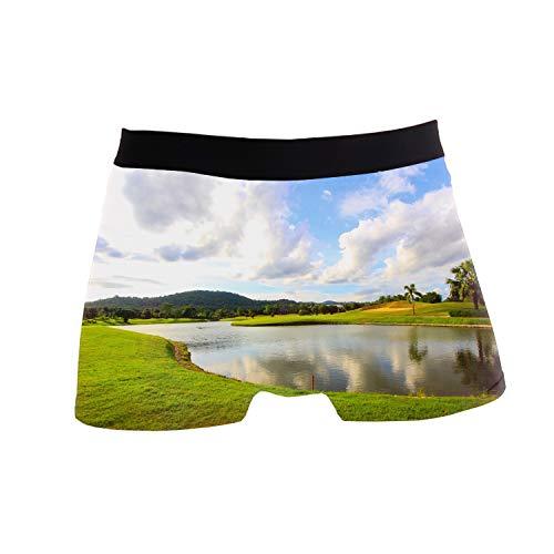 (ZWETTET Men's Sexy Funny Blue Sky Golf Course Print Boxer Briefs Underwear Polyester Spandex)