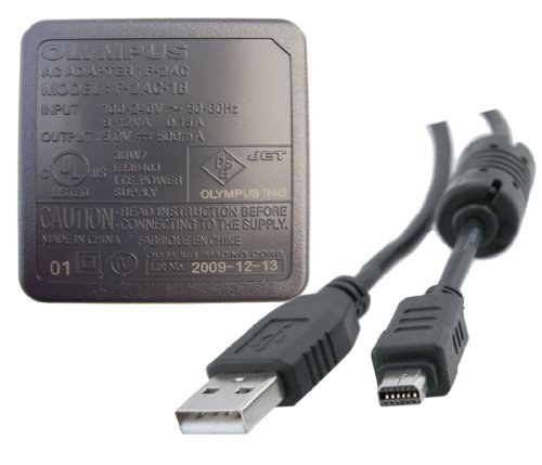 (Olympus F-2AC AC Adapter + USB Cable for TG-310, STYLUS-8010, FE-4020 & More)