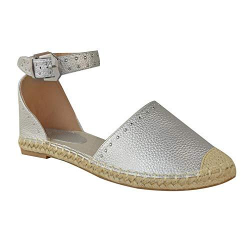 Zapatos de Rivet para Mujer Verano Zapatos Planos Moda Zapatos de Pescador Elegante Sandalias Cerrada Playa Vacaciones Sandalias 4 Colores EU 34-42 Astilla