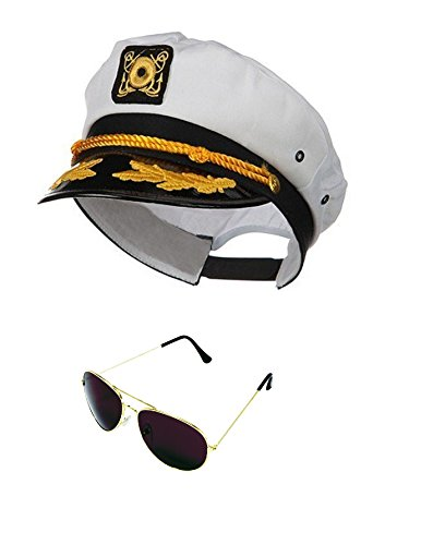 Nicky Bigs Novelties Yacht Boat Captain Hat Sailor Ship Cap White Gold and Gold Aviator - Sunglasses Lines With Plastic