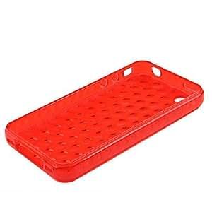 CECT STOCK Burbuja transparente estuche suave para iphone4 (rojo)