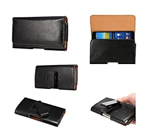 DFV mobile® - Executive Holster Magnetic Leather Case Belt Clip Rotary 360º for => Allview P7 Seon > Black