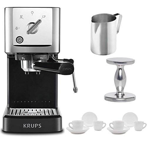 Automatic Makers Coffee Chrome Espresso (KRUPS XP344C51 Calvi Steam And Pump Compact Espresso Machine, Black Includes Stainless Steel Frothing Pitcher, Espresso Handheld Tamper and Two Ceramic Cups and Saucers)