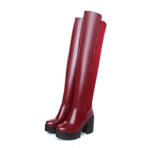 Closed Thigh Solid Women's Toe High Allhqfashion Boots Round Heels high Red Frosted S8BnxEx