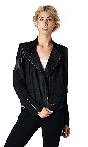 SYSTEM LA Womens Jacquard Embossed Chiffon Cropped Bomber Jacket With Eagle Etching M