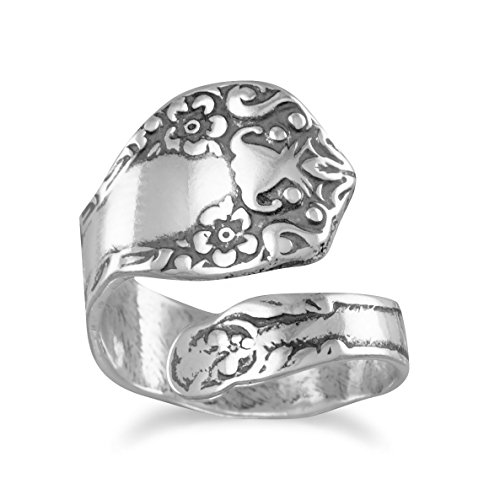 Oxidized Sterling Silver Adjustable Spoon Ring, Floral Design, 7/8 inch ()