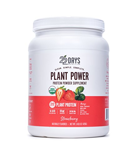 22 Days Nutrition Organic Protein Powder, Strawberry, 14.81 Ounce | Gluten Free, Vegan- Pea, Flax, and Sacha Inchi- Plant Based Protein Powder (20g) - No Added Sugar, Naturally Sweetened with Stevia by 22 Days Nutrition