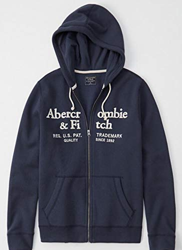 SOLD OUT!! ABERCROMBIE & FITCH HOODIE - size medium. - NAVY AND WHITE. LOGO FULL ZIP UP JACKET HOODIE - NAVY BLUE WITH WHITE LETTERING SOLD OUT - (Fitch Hoodie Abercrombie)