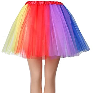 Womens Rainbow Long Gloves Socks and 3 Layered Tulle Tutu Skirt Party Accessory Set