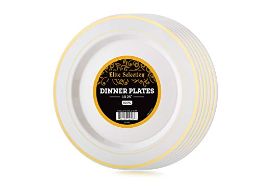 Disposable Plastic Plates Pack Of (50) Elegant Dinner Plates - Wedding - Party Plates - Hard Plastic - Fancy Disposable - China Look- White With Gold Rim - Catering - Heavy Duty & Non-Toxic 10.25