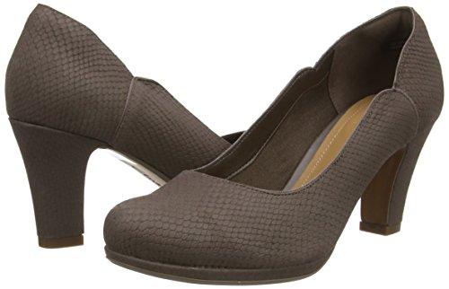 Clarks Chorus Nights - zapatos de tacón cerrados de cuero mujer Beige (Taupe Snake)