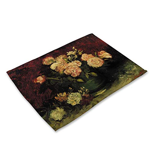 Set Of 1 Blooming Peony Flower Oil Painting Themed Placemats 16.5X12.6 Inch