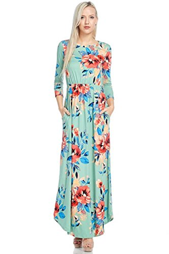 Reborn J Floral Maxi Dress With Pockets, Long Sleeve (XXX-Large, Spring Mint)