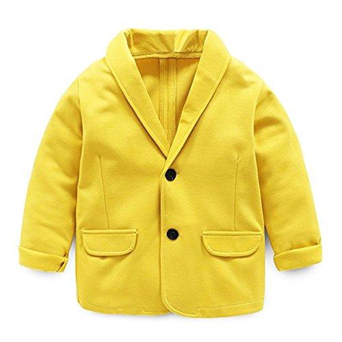 Little Kids Boys Girls Casual Fashion Blazers Jackets Coat Suit Outerwear 4-5 Years Yellow