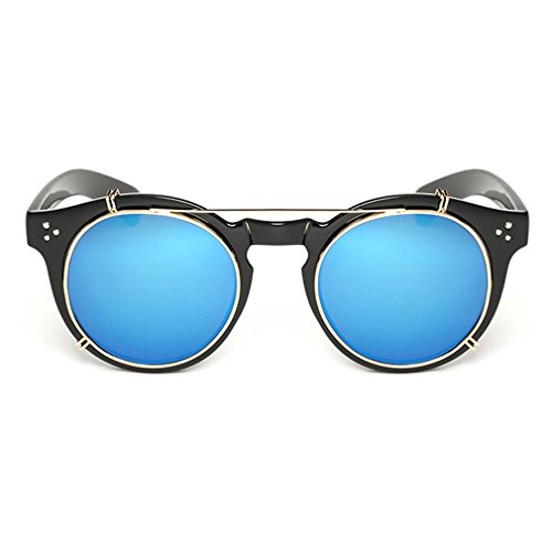 LOMOL Fashion Retro Personality Removable Clip-on lens Transparent Lens Round - S Sunglasses Kd