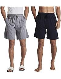 Men's Lounge Pajama Shorts Comfy Sleepwear Bottom Shorts Underwear Home Casual Shorts Sleepwear 2 Pack with Pocket
