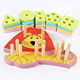 Wooden Puzzles Game Toys, TechCode Wooden Toys Lovely Lion Shape Recognize Colour Educational Wooden Puzzle Toys Geometric Stacking Puzzle for Kids Boys Girls