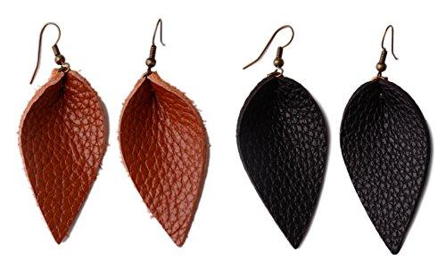 L&N Rainbery 2 Pairs Petal Leather Earrings Faux Leather Teardrop Earrings Leaf Drop Earrings (Genuine Brown+Black)