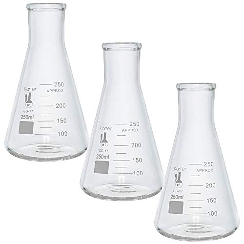 250ml Narrow Mouth Erlenmeyer Flask, Borosilicate Glass, Heavy Duty Rim, Thick Wall, Karter Scientific 213G45 (Pack of 3) (Mouth Erlenmeyer 250ml Flask Narrow)
