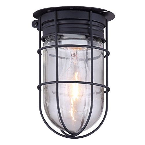 Outdoor Caged Light Barn Ceiling Exterior Wall All Weather with Cage, Black - Light Outdoor Ceiling Fixture