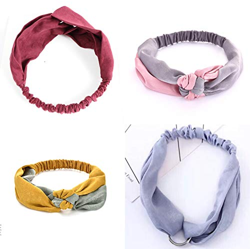4 Pcs Headbands for Women Girls Wide Knotted Yoga Head Wrap Wash Face Facial Hair Band (4 pcs)