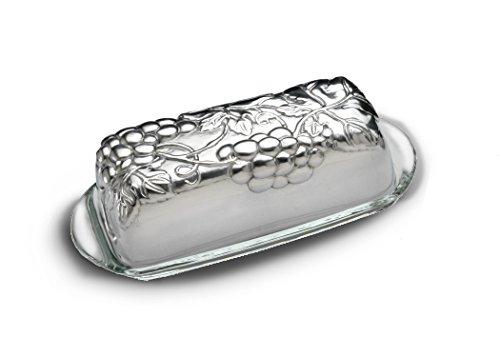 [Arthur Court Designs Aluminum Grape Covered Butter Dish with glass dish] (Grape Glass Platter)