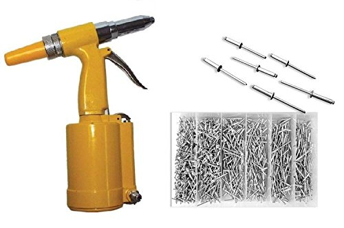Air Riveter Tools - Pneumatic Hydraulic Air Riveter Pop Rivet Gun Tool Plus 1000pc Rivet Assortment