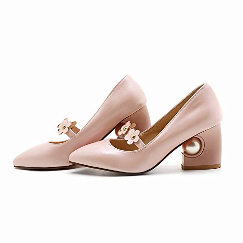 Shoes heel Floral Block Pink Womens Shoes Sweet Mee UAa6q
