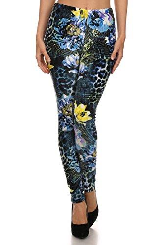 ICONOFLASH Women's Casual Full Length Velour Leggings (Floral Animal Print, One Size)