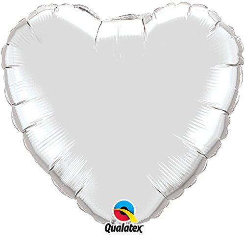 Qualatex Foil Balloon 012659 Heart - Silver, 36