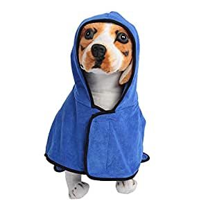 Mascotas Perros Gatos Súper Suave Absorbente Toalla de Baño Manta de Secado con Capucha(XL