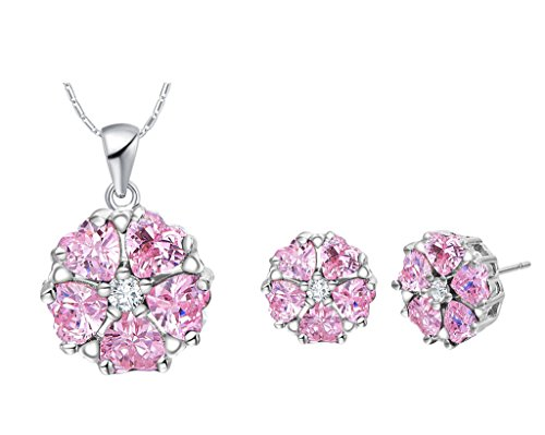 UPC 711463715034, Layla Jewelry 18k White Gold Plated Alloy Swarovski Elements Crystal Jewelry Set include Pendant Necklace and Stud Earrings for Ladies Pink(Petal)