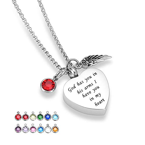 - Hearbeingt Cremation Jewelry Urn Necklace for Ashes, Angel Wing Charm Memorial Pendant, Heart Shaped Keepsake Locket with 12 Colors Birthstone Crystal