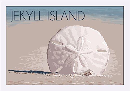 Jekyll Island, Georgia - Sand Dollar Giclee Art Print, Gallery Framed, White Wood