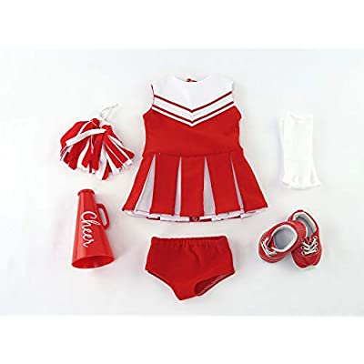 American Fashion World Red Cheerleader Outfit Cheerleading Uniform with Dress, Bloomers, Poms, Megaphone, Socks, and Shoes fits 18 inch Doll: Toys & Games