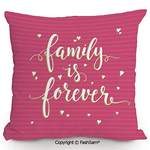 FashSam Throw Pillow Covers Hand Drawn Typography Poster Style Family Love Calligraphy Vintage for Couch Sofa Home Decor(20
