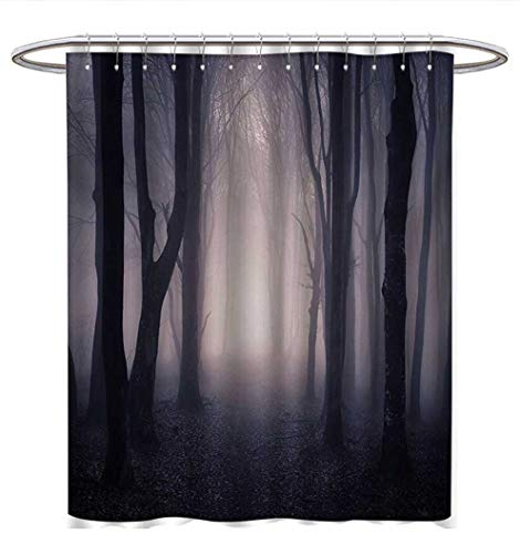 Anhuthree Forest Shower Curtains Fabric Path Through Dark Deep in Forest with Fog Halloween Creepy Twisted Branches Picture Bathroom Decor Sets with Hooks W72 x L72 Pink Brown -