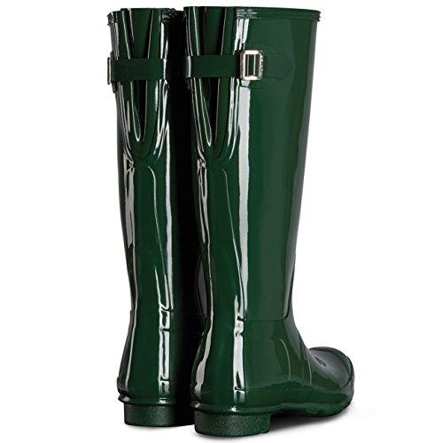 Womens Hunter Originale Regolabile Posteriore Lucido Pioggia Neve Wellington Boot Hunter Green