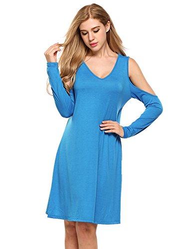 Zeagoo Womens Hollow Shoulder V-Neck Long Sleeve Casual Loose T-Shirt Dress Blue L