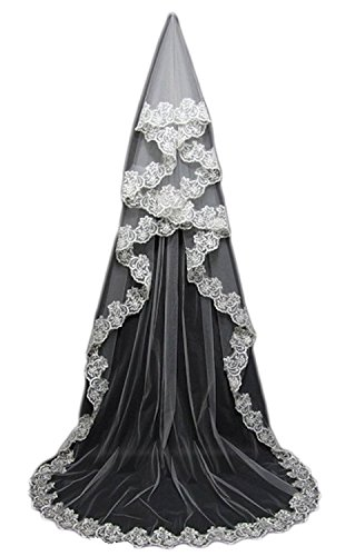 - MisShow 3M Lace Edge Cathedral Wedding Veil Long Ivory Bridal Veils with Comb