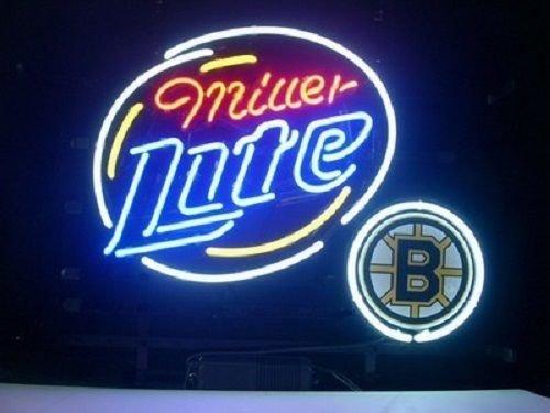 "Desung 24""x20"" Miller Lite Boston Bruin Neon Sign Light Lamp (VariousSizes) Beer Bar Pub Man Cave Handicraft DC18"